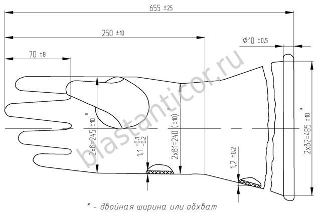 Перчатки камерные Тип-2 размеры